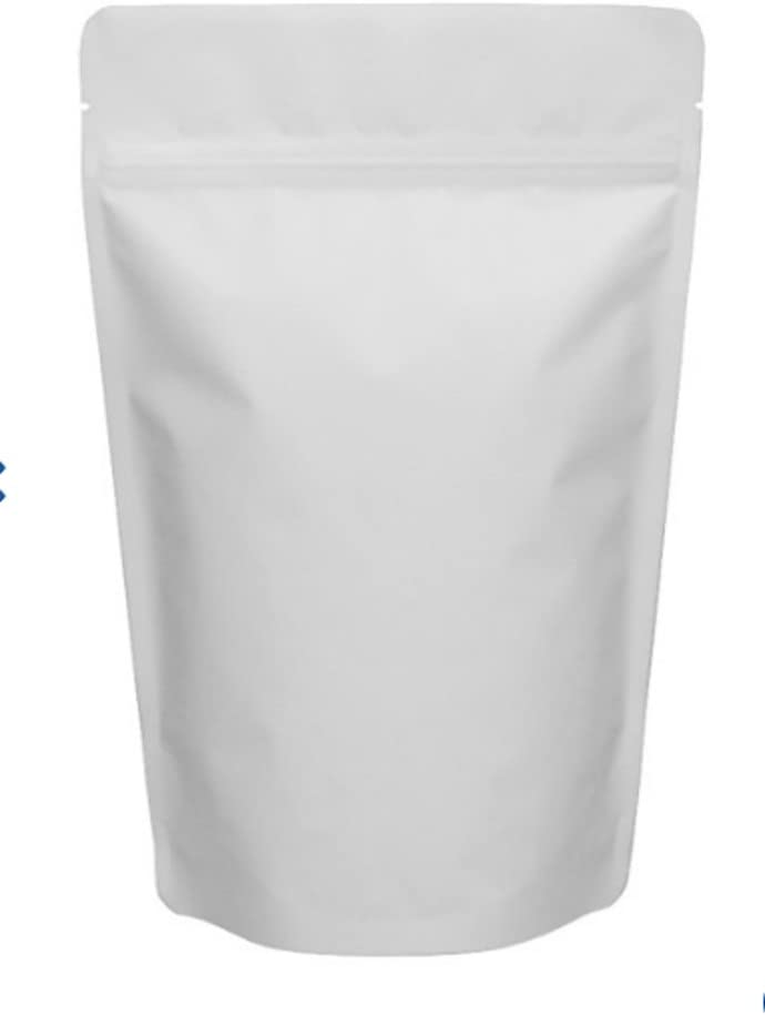 """Matte White 5"""" X 7 ¾"""" Stand Up Airtight Smell Proof Zipper Pouch Bags for Herb Coffee Powder Medicine Multipurpose Storage 4 oz (100)"""