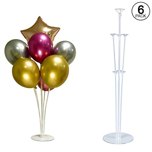 6 Balloon Stand Kit Largest Available Complete with 6 Flower Clips, Roll of Glue Dots, Convenient Hand Pump. Makes Balloons Float Without Helium. For Table, Floor, Centerpiece with Base