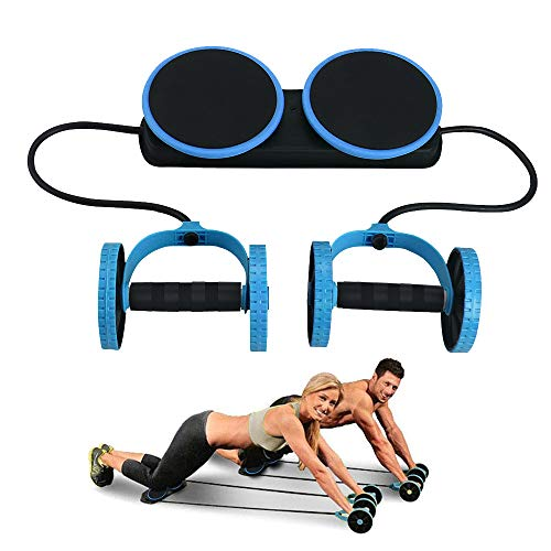 Darhoo Ab Roller Wheel - Ab Wheel Exercise Fitness Equipment - New Upgrade 5-in-1 Multi-Functional Core Ab Workout Abdominal Wheel Machine - Ab Roller Home Gym Equipment for Both Men & Women - Blue