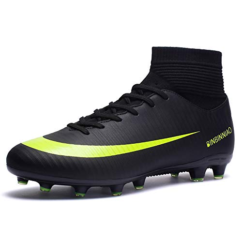 CR Indoor Cleats Big Boys Size Ankle Boots Women Turf Outdoor Soccer Shoes for Men Size White (5 M, Black)