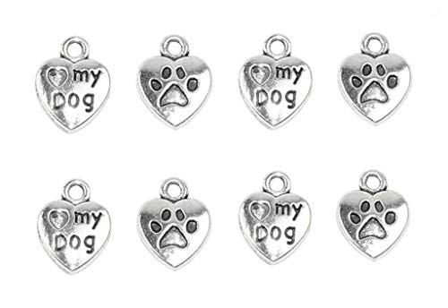 60pcs My Dog Lettering Pet Charm Peach Heart Shape Double-sided Pendant with Pawprint for DIY Bracelet Necklace Jewelry Making Findings(Silver (Paw Print Heart Charm)