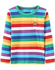 Aisyee Boys Rainbow Shirts Long Sleeve Striped Cotton Shirts for Kids Girls Crew Neck Tops