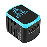 Travel Adapter Universal USB Charger - Elecer Worldwide All in One Power Converter 4 USB Smart 2.4A Ports Travel Plug European Multi-plug Wall Quick Charging Socket for USA EU UK AUS Asia (Blue)