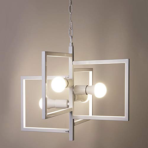 Design Lighting Pendant (Wellmet Industrial 4-Light Indoor Chandelier Square Shade Fixture, Multi Light Pendant Lighting with Geometric Design, Modern Hanging Lamp for Dining Room, Foyer, Kitchen)