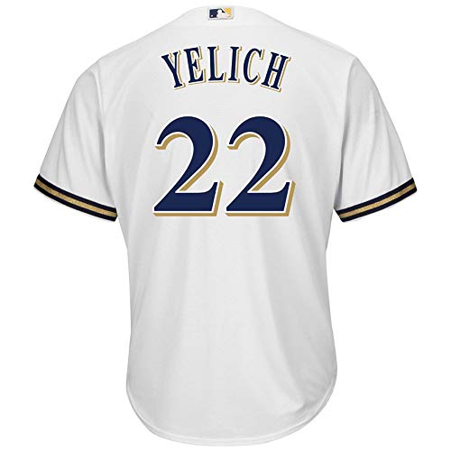 Christian Yelich Milwaukee Brewers #22 White Youth Cool Base Home Replica Jersey