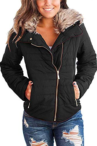 (HSRKB Women's Faux Fur Jackets Winter Coats Quilted Down Jacket with Zipper Black)