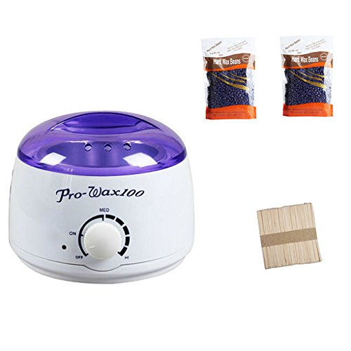ForUBeauty Waxing Kit Electric Hot Wax Warmer with 2 flavors Hard Wax Beans and Wax Applicator 50PC Sticks for Hair Removal