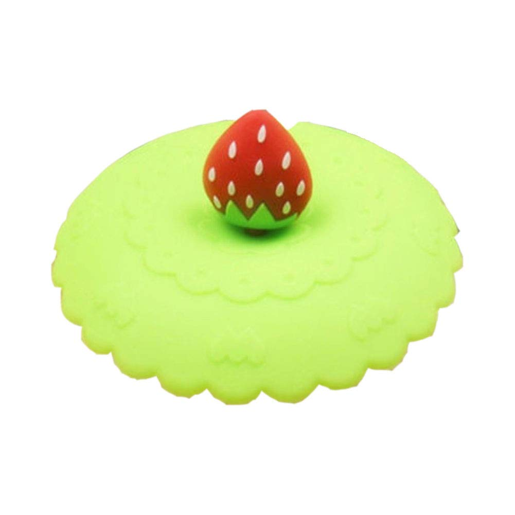 Sealed Cute Fruit Glass Cup Cover Silicone Suction Leakproof Coffee Mug Lid - Green SoundsBeauty