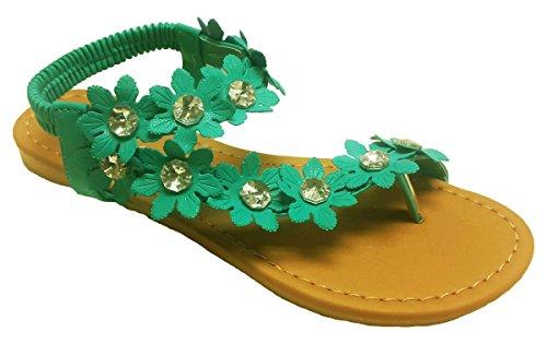 a38a3bca66ae Elegant Women s Fashion Blue Hawaiian Flowers Gladiator Flat Sandals ...