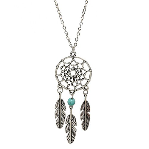 Young & Forever Girl's Boho Bohemia Free Spirit Dreamcatcher Silver Pendant -