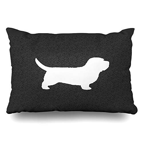 Ahawoso Throw Pillow Cover Pillowcase Basset Hound Silhouette Animal Decorative Pillow Case Home Decor Standard 20x26 Inches Cushion Case