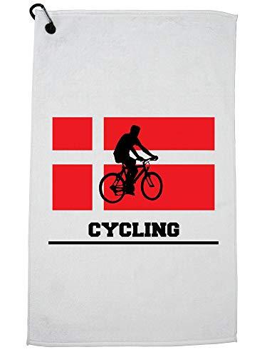 Hollywood Thread Denmark Olympic - Cycling - Flag - Silhouette Golf Towel with Carabiner Clip by Hollywood Thread