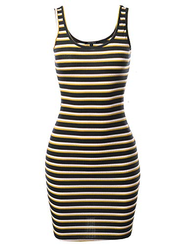 Awesome21 Stripe Print Scoop Neck Sleeveless Ribbed Body-Con Mini Dress Black Yellow L
