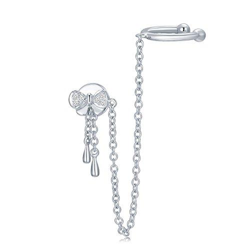 Or blanc 18ct 750avec diamant Unique Nœud en ruban Chaîne d'oreille Boucles d'oreilles (0,02carat au total, G-H Couleur, Vs2-si1Clarté) Femme Bijoux Cadeau Saint Valentin