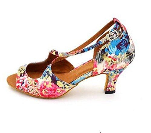 YFF Frauen tanzen Schuhe Blütenfarbe Baumwolle Material 6 cm niedrigem Absatz Ballroom Latin Tango Salsa Schuhe, Blütenfarbe, 7,5