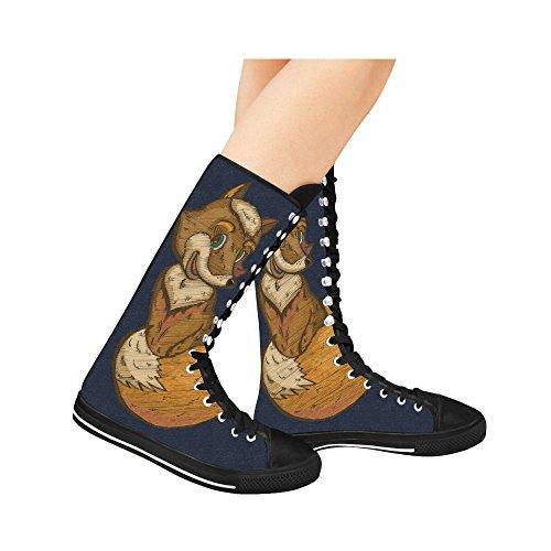 D-histoire Mode Lace Up Tall Punk Danse Toile Longues Bottes Baskets Chaussures Pour Femmes Multicoloured10