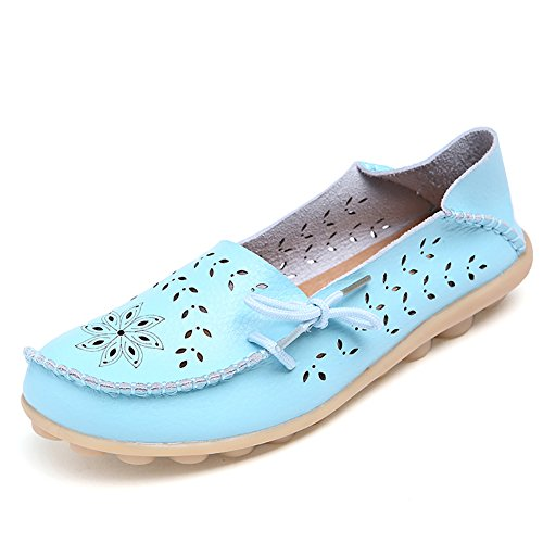 DEARWEN Womens Casual Hollow Out Carving Footwear Driving Flat Loafers Shoes Moon Color iR3j3XH9