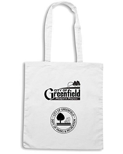 T-Shirtshock - Bolsa para la compra TM0044 City of Greenfield citta Blanco