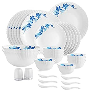 Cello Opalware Dazzle Blue Swirl Dinner Set, 35Pcs, White