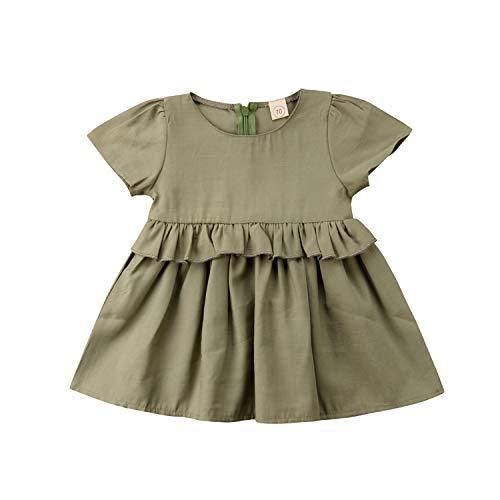 Baby Girls Dress Elegant Summer Lovely Baby Girl Dress Green Party Fancy Dress Sundress Kids Girl Clothes 0-24M Green 6M]()