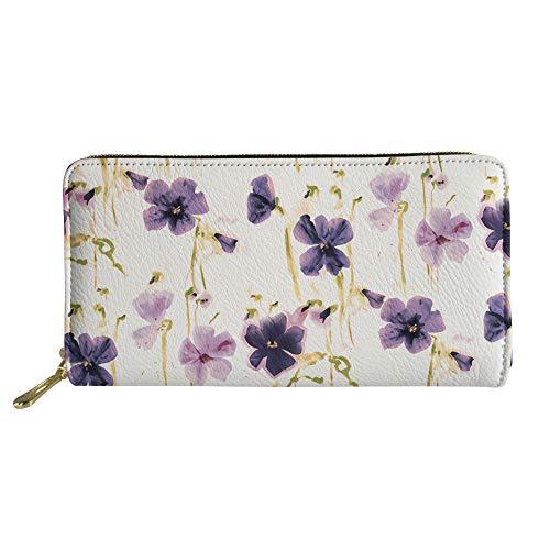 Womens PU Leather Wallet Boho Long Clutch Floral Print Zipper Purse Credit Card Holder
