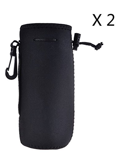 Protable Neoprene Insulated Water Bottle Cooler Cooler Carrier Cover Sleeve Tote Bag Pouch Holder Strap for Kid Children Women MEN Biker (BLACK 2 PACK) (20 Oz Neoprene Bottle)