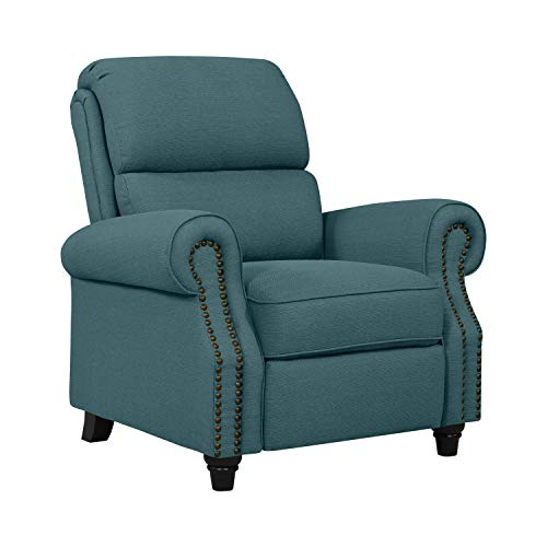 Domesis Cortez Push Back Recliner Chair in Blue Linen ()