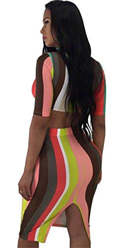 Moulante Crop Tops Jupes Tenues Bande Ensemble Robe Femmes Qikaka Stripe 2 Clubwear Pices Imprim Party wXxwB0pqa