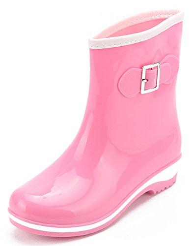 Low Waterproof Rain Rubber Wellington Wellies Boots IDIFU Heels Short Pink Women's Shoes w6SWqEqg