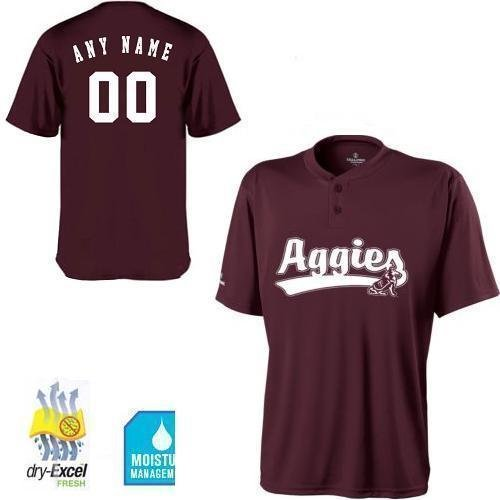 (Youth Medium Texas A&M Aggies CUSTOMIZED 2-Button Cool Base Wicking dry-Excel NCAA Officially Licensed Replica Jersey Shirt)