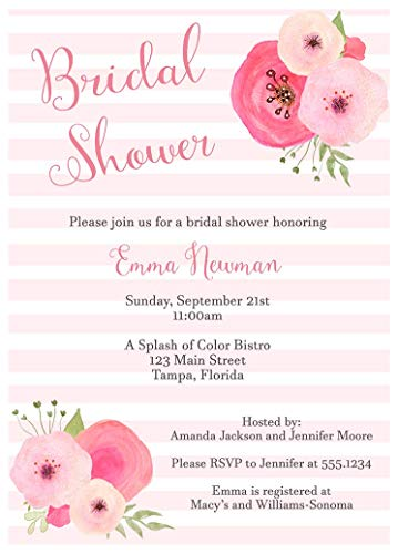 Floral Bridal Shower Invitations Stripes Wedding Party Invites Watercolor Blossoms Flower Clusters Mimosas Champagne Brunch and Bubbly Pink Blush (10 Count) (Sparkling Watercolor)