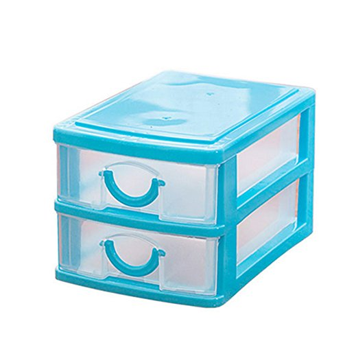 NEW Arrival Durable Plastic Mini Desktop Drawer Sundries Case Small Objects Cosmetics Storage Box Stackable Cube Organizer 2/3 Drawers (Two Layer:Blue)