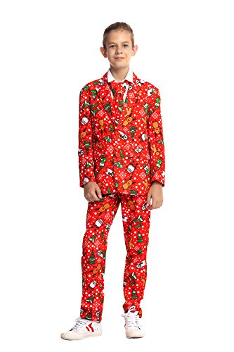 U LOOK UGLY TODAY Boys Bachelor Party Suit Funny Costume Novelty Xmas Jacket with Tie Christmas ELK-Large -