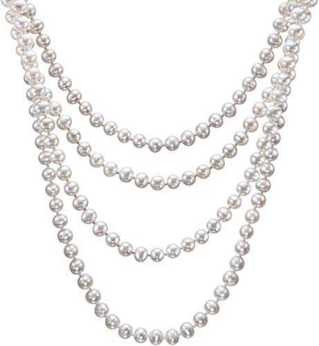 - HinsonGayle AAA Handpicked 6.5-7 White Freshwater Cultured Pearl Rope Necklace 82 inch Endless Strand-82 in length