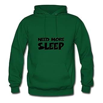 For Women Cotton Green Designed Regular Chic Need More Sleep Hoodies X-large