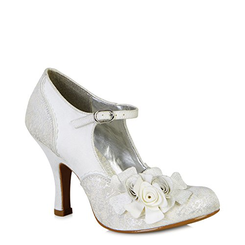 - Ruby Shoo Women's Silver Emily Mary Jane Pumps UK 4 EU 37