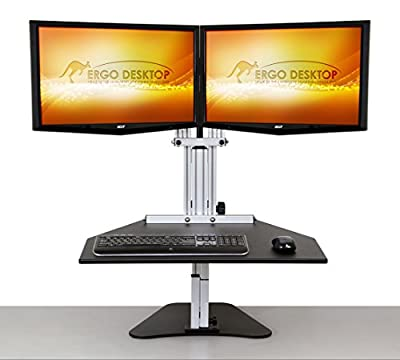 Kangaroo Elite- Black- Height Adjustable Standing Desk (Black)