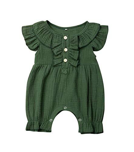 VISGOGO Newborn Baby Girls Boys Kid Solid Colour Bodysuit Sleeveless Romper Jumpsuit + Headband 2PCS Clothes Sets (C-Green, 12-18 Months)
