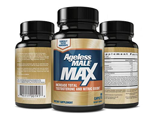 (Ageless Male MAX Total Testosterone and Nitric Oxide Booster Supplement for Increasing Muscle Size, Stamina Enhancement, Sleep + Reducing Body Fat & Stress - 60 Tablets (1 Pack))