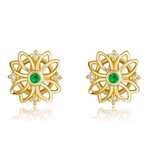 Carleen 18K Solid Yellow Gold Natural Emerald Diamond Sun Flower Stud Earrings Dainty Fine Jewelry for Women Girls (18k Large Oval Gemstone)