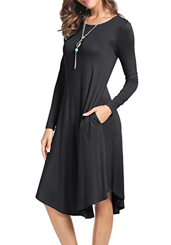 Levaca Womens Fall Long Sleeve Draped Swing Loose Casual Tunic Dress Black M (Dresses On Women $20 Sale Under)