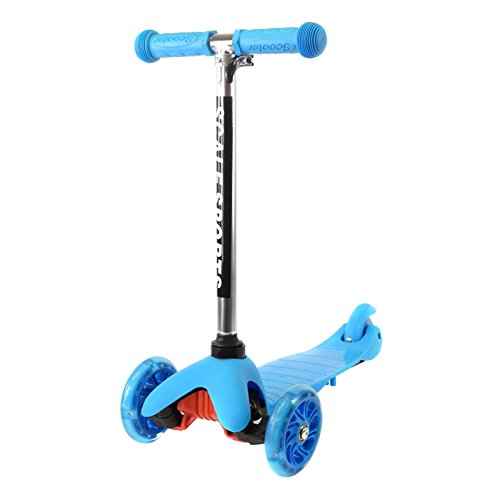 Blue Kids Kick Scooter 3 Wheel Lean To Steer Adjustable Height T-Bar Ride On LED Wheels Up To 85 LB Age 3+