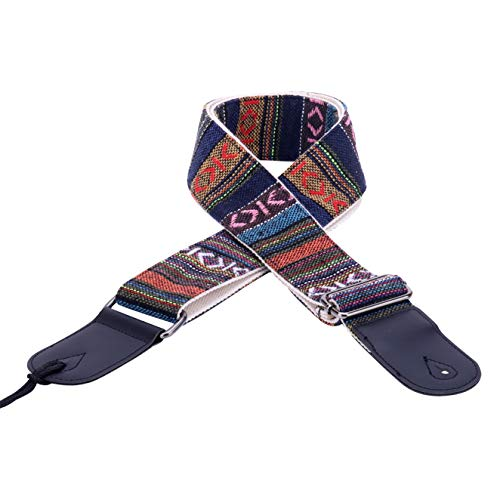VIVICTORY Hootenanny Style Guitar Straps Retro Braided Style 100% Cotton Genuine Leather Adjustable length