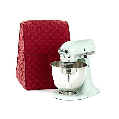 Large Size Stand Mixer Cover, Dustproof 4.5-6 Quart Kitchen Aid Organizer Bag, Mixer Covers Fits All Tilt Head & Bowl Lift Models for Kitchen Aid, Sunbeam, Cuisinart, Hamilton Beach Mixers (Red)