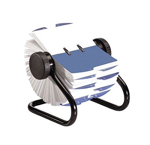 - Rolodex 66727 Open Rotary Card File, 500 3x5 Cards, 24 Guides, Black Finish