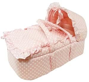 Stephan Baby Infant Girl Vintage Dot Moses Basket Set, Pink