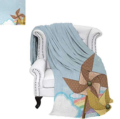 (Custom Design Cozy Flannel Blanket Fantastic Blue Sky with Clouds Stars Dandelion Seeds and Two Pinwheels Weave Pattern Blanket 60