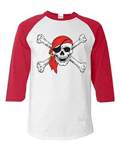 Moms Favorite Jolly Roger Skull And Crossbones Baseball Shirt Pirate Flag Raglan Shirt