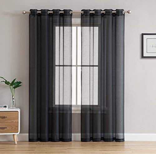 HLC.ME 2 Piece Sheer Voile Window Curtain Grommet Panels for Bedroom & Living Room (54