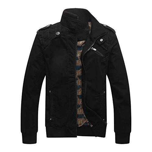 Sunshinejourney-Jackets Autumn Men Jacket Coat Outerwear Uniform CostumesBreathable Nylon Windbreaker,Black,XXXL